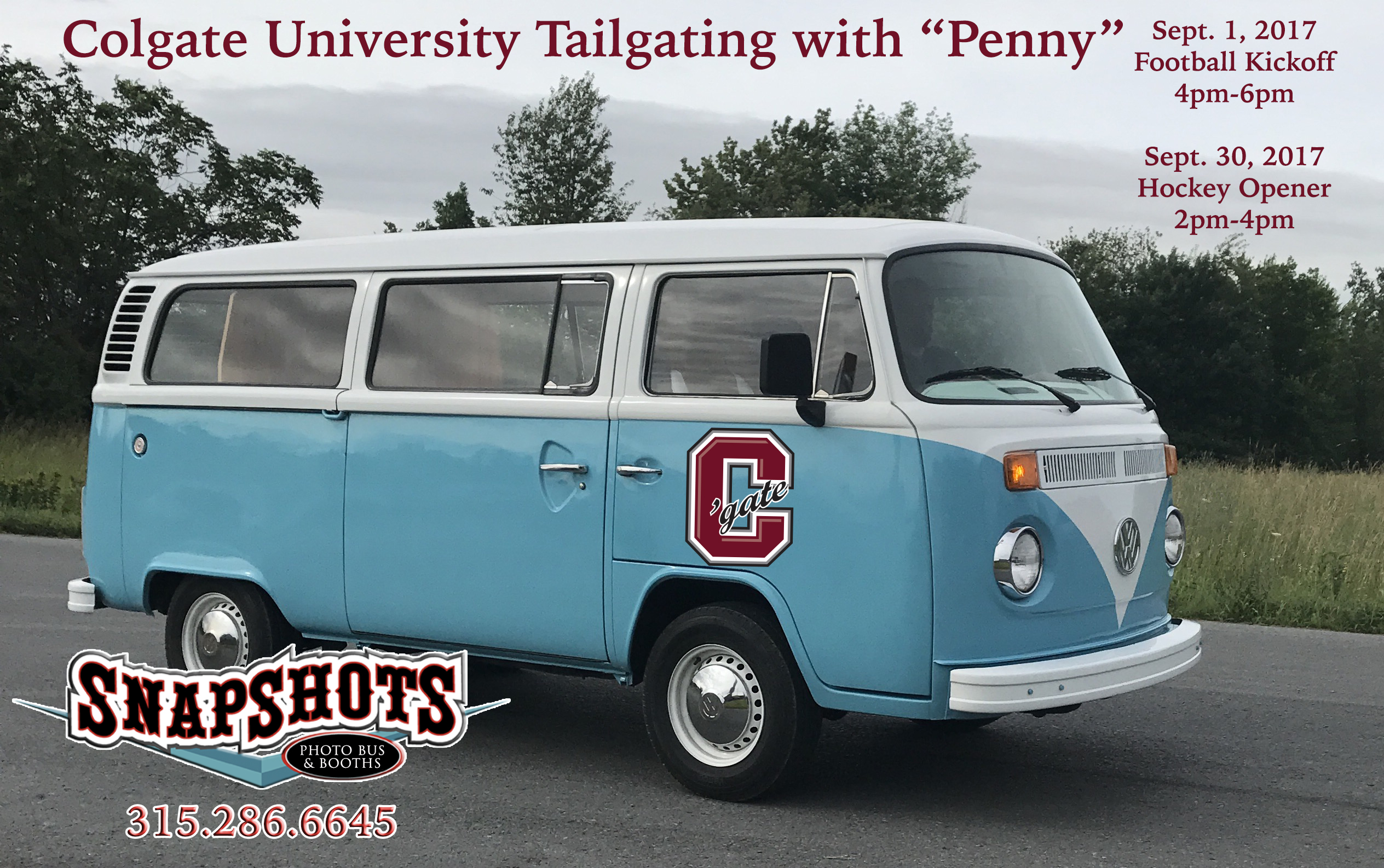 COLLEGE TAILGATING WITH SNAPSHOTS VW PHOTO BOOTH BUS